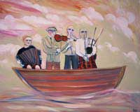 A band in a boat